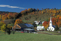 fall, village, church, East Corinth, VT, Vermont, Scenic view of the village of East Corinth in the autumn.