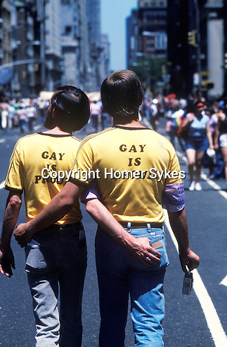 "Gay Parade "" Gay is Proud"" slogan T shirts,Manhattan  New York USA 1970s."