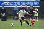 Omir Fernandez (16) of the Wake Forest Demon Deacons battles for the ball with Jakob Bluemler (31) of the Virginia Tech Hokies during second half action at Spry Soccer Stadium on November 5, 2017 in Winston-Salem, North Carolina.  The Demon Deacons defeated the Hokies 3-0.  (Brian Westerholt/Sports On Film)