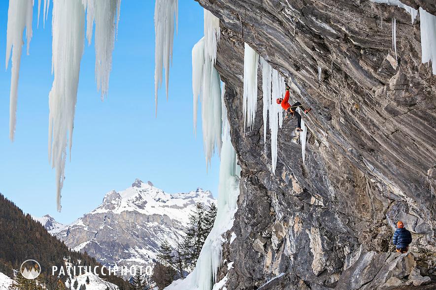 Ueli Steck climbing Carabus Problematicus, D10, at Ueschenen, above Kandersteg, Switzerland