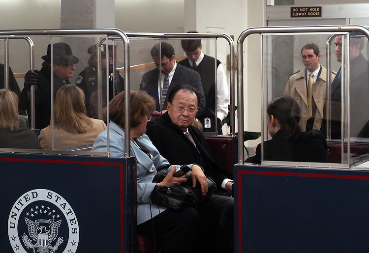 Sen. Daniel Inouye, D-Hi., waits to make his way back to Senate office buildings after the reopening from the ricin that was found in one of the mailrooms.