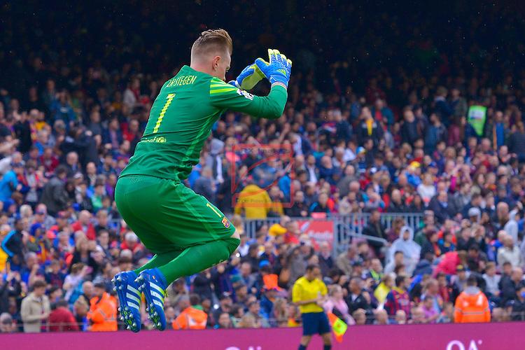League BBVA 2015/2016 - Game: 37.<br /> FC Barcelona vs RCD Espanyol: 5-0.<br /> Marc-Andre Ter Stegen.