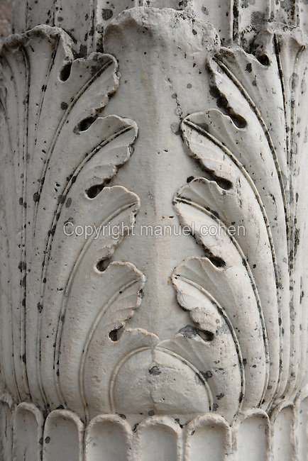 CORINTH, GREECE - APRIL 16 : A detail of a Corinthian capital, on April 16, 2007 in Corinth, Greece. This capital shows the typical acanthus leaf design. Corinth, founded in Neolithic times, was a major Ancient Greek city, until it was razed by the Romans in 146 BC. Rebuilt a century later it was destroyed by an earthquake in Byzantine times. (Photo by Manuel Cohen)