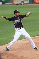 Wisconsin Timber Rattlers shortstop Jake Gatewood (2) throws to first during a Midwest League game against the Kane County Cougars on May 16th, 2015 at Fox Cities Stadium in Appleton, Wisconsin.  Kane County defeated Wisconsin 4-2.  (Brad Krause/Four Seam Images)