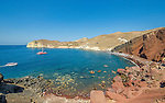 The popular Red Beach on the island of Santorini, Greece