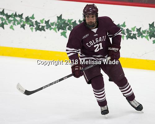 Tyler Penner (Colgate - 21) - The visiting Colgate University Raiders shut out the Harvard University Crimson for a 2-0 win on Saturday, January 27, 2018, at Bright-Landry Hockey Center in Boston, Massachusetts.