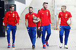 Spain's Nacho Monreal, Daniel Carvajal, David De Gea and Gerard Deulofeu after training session. March 21,2017.(ALTERPHOTOS/Acero)