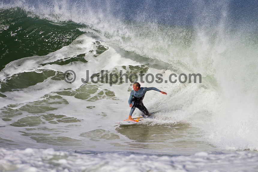 Friday July 9, 2010. Owen Wright (AUS). Free surfing at Jeffreys Bay, Eastern Cape, South Africa.  The swell is in the 5'-6' range with a howling north west devil wind. Photo: joliphotos.com