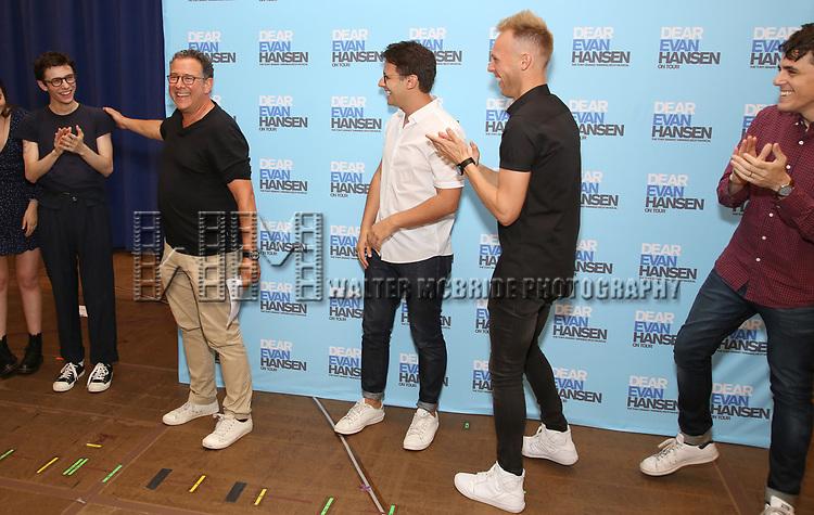 Ben Levi Ross, Michael Greif, Benj Pasek, Justin Paul and Steven Levenson attends the National Tour Photo Call for 'Dear Evan Hansen' on September 6, 2018 at the New 42nd Street Studios in New York City.