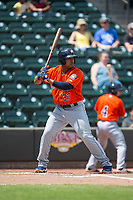 Dexture McCall (27) of the Buies Creek Astros at bat against the Winston-Salem Dash at BB&T Ballpark on April 16, 2017 in Winston-Salem, North Carolina.  The Dash defeated the Astros 6-2.  (Brian Westerholt/Four Seam Images)
