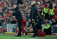 Manchester United manager Ole Gunnar Solskjaer shouts encouragement to his team from the technical area<br /> <br /> Photographer Alex Dodd/CameraSport<br /> <br /> The Premier League - Liverpool v Manchester United - Sunday 19th January 2020 - Anfield - Liverpool<br /> <br /> World Copyright © 2020 CameraSport. All rights reserved. 43 Linden Ave. Countesthorpe. Leicester. England. LE8 5PG - Tel: +44 (0) 116 277 4147 - admin@camerasport.com - www.camerasport.com