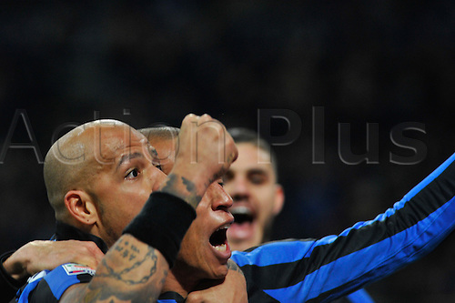 20.02.2016. Milan, Italy.  Joao Miranda and Felipe Melo of FC Inter celebrate the second goal during the Italian Serie A League soccer match between Inter Milan and UC Sampdoria at San Siro Stadium in Milan, Italy.