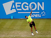 June 12th 2017,  Nottingham, England; WTA Aegon Nottingham Open Tennis Tournament day 3; Qualifier Liam Broady of the UK serves