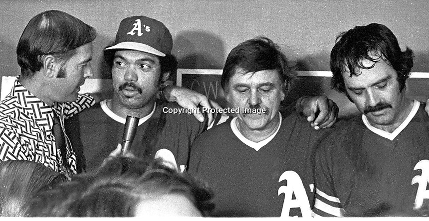 Monte Moore interviewing Reggie Jackson, Dick Williams and  Darold Knowles..after beating the N.Y Mets in the 1973 World Series(1973 photo/Ron Riesterer)