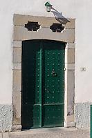 France, Aquitaine, Pyrénées-Atlantiques, Pays Basque, Saint-Palais: Détail porte maison basque,  rue Arnaud Oihenart //  France, Pyrenees Atlantiques, Basque Country, Saint Palais