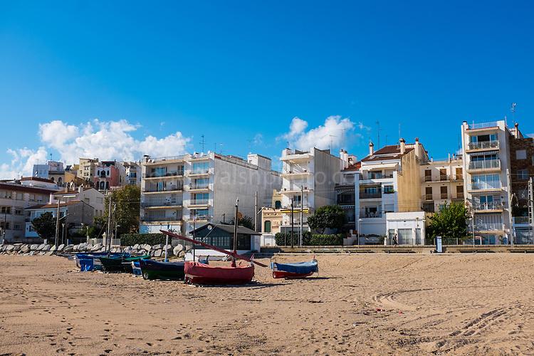 Boats on the beach at Sant Pol de Mar, Catalonia
