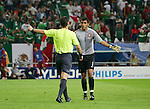 21 June 2006: Match referee Lubos Michel (SVK) (l) instructs Ricardo (POR) (1) to take his place in the goal for a Mexico penalty kick. Portugal defeated Mexico 2-1 at Veltins Arena in Gelsenkirchen, Germany in match 31, a Group D first round game, of the 2006 FIFA World Cup.