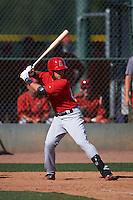 Los Angeles Angels Keinner Pina (20) during an instructional league game against the Oakland Athletics on October 9, 2015 at the Tempe Diablo Stadium Complex in Tempe, Arizona.  (Mike Janes/Four Seam Images)