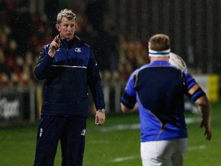 Leinster's Head Coach Leo Cullen during the pre match warm up<br /> <br /> Photographer Simon KIng/CameraSport<br /> <br /> Rugby Union - Guinness PRO12 Round 13 - Newport Gwent Dragons v Leinster - Friday 29th January 2016 - Rodney Parade - Newport<br /> <br /> &copy; CameraSport - 43 Linden Ave. Countesthorpe. Leicester. England. LE8 5PG - Tel: +44 (0) 116 277 4147 - admin@camerasport.com - www.camerasport.com