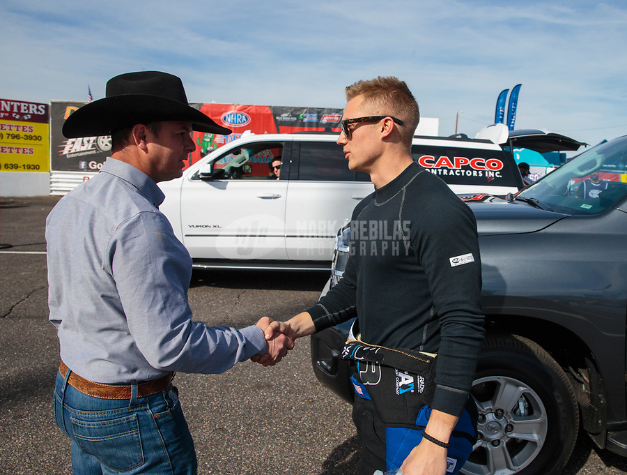 Feb 24, 2019; Chandler, AZ, USA; NHRA top fuel driver Steve Torrence (left) greets Jordan Vandergriff during the Arizona Nationals at Wild Horse Pass Motorsports Park. Mandatory Credit: Mark J. Rebilas-USA TODAY Sports