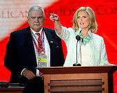 Anne Romney participates in a microphone check prior to the start of the day's program at the 2012 Republican National Convention in Tampa Bay, Florida on Tuesday, August 28, 2012.  Bill Harris, Chief Executive Officer of the 2012 Republican National Convention looks on from left. .Credit: Ron Sachs / CNP.(RESTRICTION: NO New York or New Jersey Newspapers or newspapers within a 75 mile radius of New York City)
