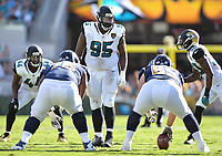 Jacksonville Jaguars defensive tackle Abry Jones (95) line up against the Los Angeles Rams in a NFL game Sunday, October 15, 2017 in Jacksonville, Fl.  (Rick Wilson/Jacksonville Jaguars)