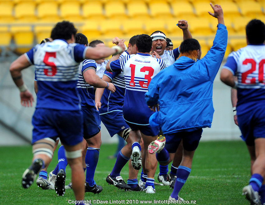Norths players celebrate victory. Jubilee Cup Rugby Final - Poneke v Norths, 15 August 2010