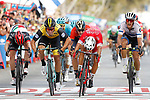 Nacer Bouhanni (FRA) Cofidis wins the sprint for Stage 6 of the La Vuelta 2018, running 150.7km from Huércal-Overa to San Javier, Mar Menor, Sierra de la Alfaguara, Andalucia, Spain. 30th August 2018.<br /> Picture: Unipublic/Photogomezsport | Cyclefile<br /> <br /> <br /> All photos usage must carry mandatory copyright credit (© Cyclefile | Unipublic/Photogomezsport)