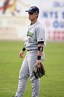 June 23rd 2008:  Justin Bass of the Jamestown Jammers, Class-affiliate of the Florida Marlins, during a game at Dwyer Stadium in Batavia, NY.  Photo by:  Mike Janes/Four Seam Images