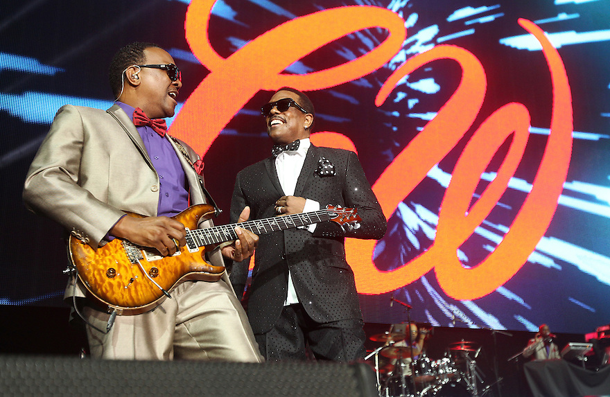 Charlie Wilson center performs on Day 2 of the 2013 Essence Music Festival at the Mercedes-Benz Superdome on Saturday, July 6, 2013 in New Orleans. (Photo by Donald Traill/Invision/AP)