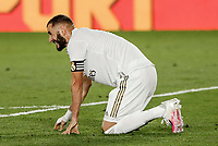 10th July 2020; Estadio Alfredo Di Stefano, Madrid, Spain; La Liga Football, Real Madrid versus Deportivo Alaves; Karim Benzema (Real Madrid)  goes down with a head injury