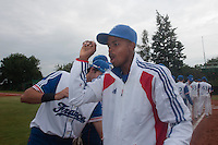 18 August 2010: Luis de la Rosa of Team France is seen during the players introduction prior to the France 7-3 win over Ukraine, at the 2010 European Championship, under 21, in Brno, Czech Republic.
