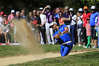 Haydn Porteous (RSA) in a fairway bunker for his 2nd shot on the 5th hole during Sunday's Final Round 4 of the 2018 Omega European Masters, held at the Golf Club Crans-Sur-Sierre, Crans Montana, Switzerland. 9th September 2018.<br /> Picture: Eoin Clarke | Golffile<br /> <br /> <br /> All photos usage must carry mandatory copyright credit (&copy; Golffile | Eoin Clarke)