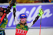2nd February 2019, Maribor, Slovenia;  Mikaela Shiffrin of United States of America celebrating her victory at the Audi FIS Alpine Ski World Cup Women's Slalom Golden Fox on February 2, 2019 in Maribor, Slovenia