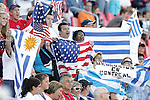 11 July 2007: USA and Uruguay fans, intermingled, show their colors prior to the game. The Under-20 Men's National Team of the United States defeated Uruguay's Under-20 Men's National Team 2-1 after extra time in a  round of 16 match at the National Soccer Stadium (also known as BMO Field) in Toronto, Ontario, Canada during the FIFA U-20 World Cup Canada 2007 tournament.