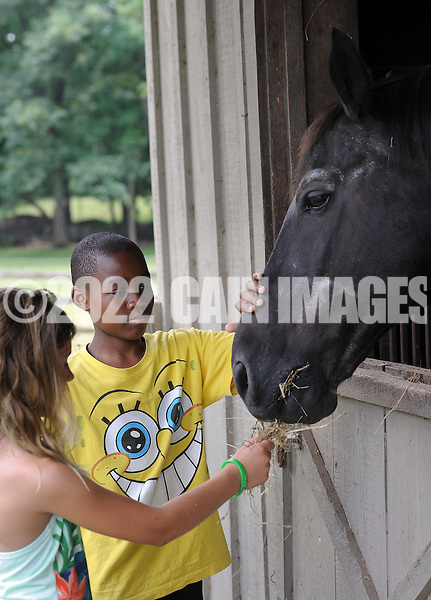 HILLTOWN, PA - JULY 12: Marisa Hatzis (L), 7 of Chalfont, Pennsylvania and Jeremiah Simon, 12, of Bronx, New York feed a horse named Excalibur during a Fresh Air Fund picnic at the home of former Fresh Air Fund child Nancy Ortiz and her husband, Dave Sharp July 12, 2014 in Hilltown, Pennsylvania. They have been holding a picnic in honor of the children for more than 30 years. (Photo by William Thomas Cain/Cain Images)