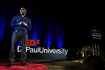 "Jameson Dixon, Jr. presents his talk ""The Power of Self-Connection"" at TEDxDePaulUniversity Tuesday, April 18, 2017, in the Lincoln Park Student Center. TEDxDePaulUniversity is an independently run, self-organized event. Through the theme ""Courage to Connect"" 10 speakers from across the DePaul community challenged thoughts and inspired ideas through a series of engaging talks and presentations. (DePaul University/Jeff Carrion)"