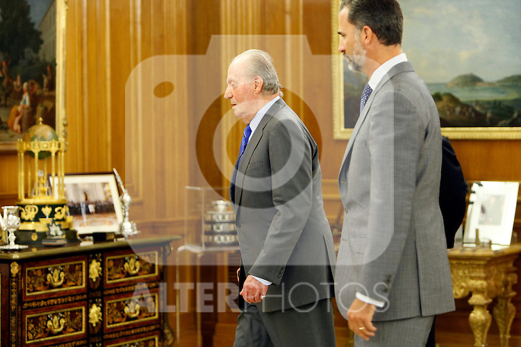 King Juan Carlos of Spain and Prince Felipe of Spain recive in audience to COI representation for candidature of Madrid 2020 Olympic Games in a Zarzuela Place in Madrid. September 10, 2013. (ALTERPHOTOS/Caro Marin)