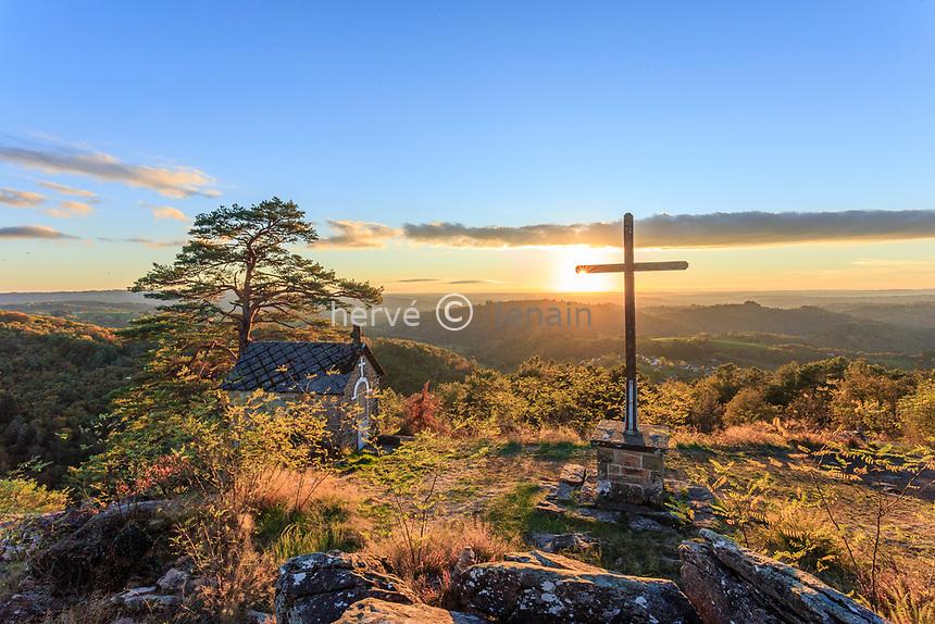 France, Correze, Aubazine, Puy de Pauliac, chapel and cross site // France, Corrèze (19), Aubazine, le Puy de Pauliac, site de la chapelle et du calvaire