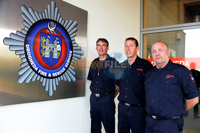 Retained Sub office Joe O'Connor retirement party in Drogheda Fire Station. pictures with Paul Kelly and Patrick Reilly<br />