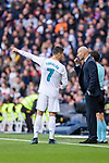 Zinedine Zidane Head Coach of Real Madrid (R) instructs Cristiano Ronaldo of Real Madrid (L) during La Liga 2017-18 match between Real Madrid and Sevilla FC at Santiago Bernabeu Stadium on 09 December 2017 in Madrid, Spain. Photo by Diego Souto / Power Sport Images