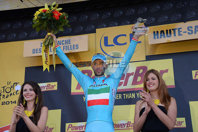 Vincenzo Nibali (ITA) Astana wins the stage in convincing style at the end of Stage 10 of the 2014 Tour de France running 161.5km from Mulhouse to La Planche des Bellles Filles. 14th July 2014.<br /> Photo ASO/X.Bourgois/www.newsfile.ie