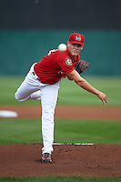 Auburn Doubledays pitcher Matthew DeRosier (22) delivers a pitch during a game against the Batavia Muckdogs on September 7, 2015 at Falcon Park in Auburn, New York.  Auburn defeated Batavia 11-10 in ten innings.  (Mike Janes/Four Seam Images)