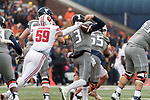 Wisconsin Badgers linebacker Tyler Johnson (59) strips the ball from Illinois Fighting Illini quarterback Jeff George (3) during an NCAA College Big Ten Conference football game Saturday, October 28, 2017, in Champaign, Illinois. The Badgers won 24-10. (Photo by David Stluka)