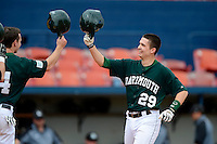 Dartmouth Big Green catcher/outfielder Matt MacDowell (29) after hitting a home run during a game against the Long Island Blackbirds at Chain of Lakes Stadium on March 17, 2013 in Winter Haven, Florida.  Dartmouth defeated UAB 11-4.  (Mike Janes/Four Seam Images)