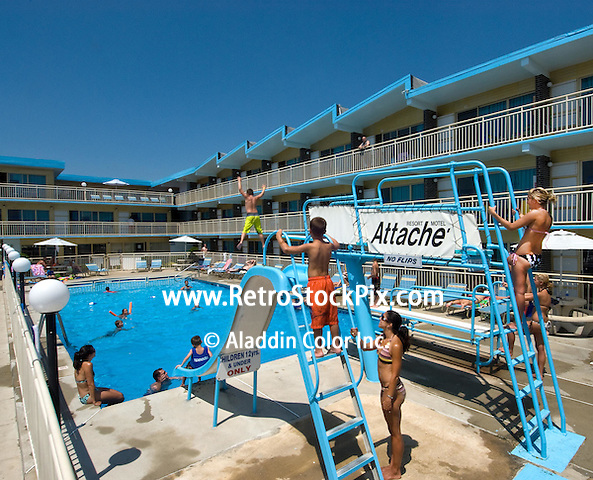 Attache Motel in Wildwood Crest NJ. 2008 Pool with Slide & High Dive