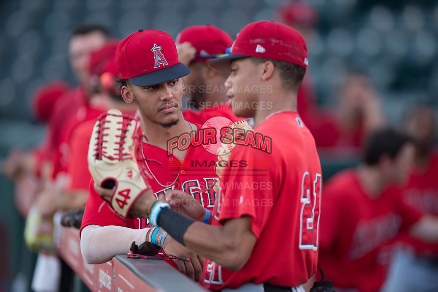 AZL Angels 2018 draft pick Jeremiah Jackson (8) and Jordyn Adams (21) talk before an Arizona League game against the AZL Padres 2 at Tempe Diablo Stadium on July 18, 2018 in Tempe, Arizona. The AZL Padres 2 defeated the AZL Angels 8-1. (Zachary Lucy/Four Seam Images)