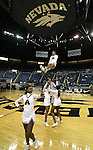 The Agassi Prep cheerleaders entertain the crowd during a break in the NIAA 2A State Basketball Championship game between West Wendover and Agassi Prep high schools at Lawlor Events Center, in Reno, Nev, on Saturday, Feb. 25, 2012. West Wendover won 69-68..Photo by Cathleen Allison