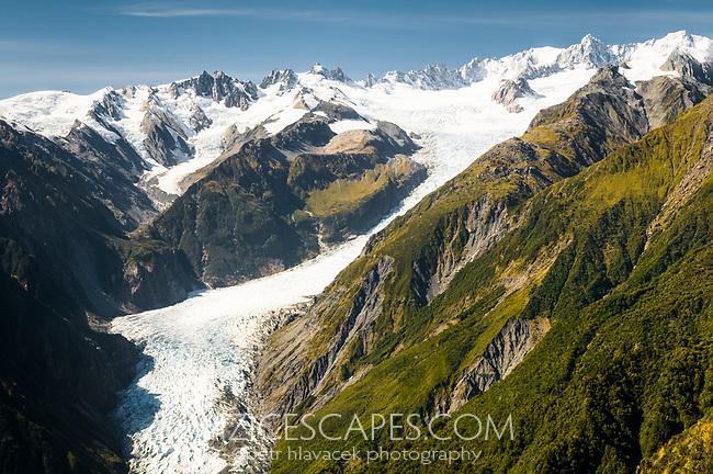 Fox Glacier from Mt. Fox, Westland Tai Poutini National Park, West Coast, UNESCO World Heritage Area, New Zealand, NZ