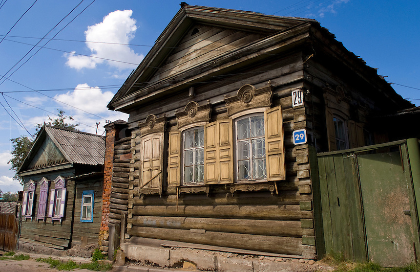 Wooden houses with shutters, Irkutsk, Siberia, Russia